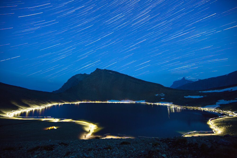 Star trails and a walk around an alpine tarn