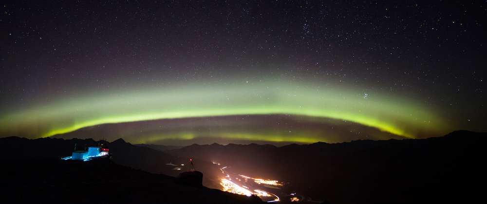 Auroral arc from Whistlers Mountain