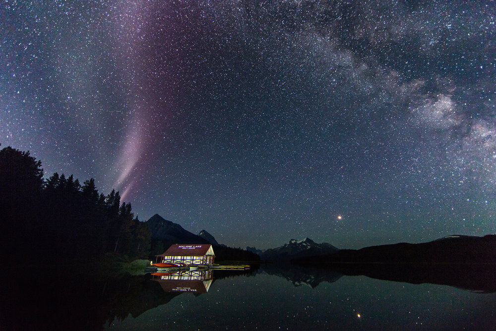 STEVE, Mars, and The Milky Way at Maligne Lake