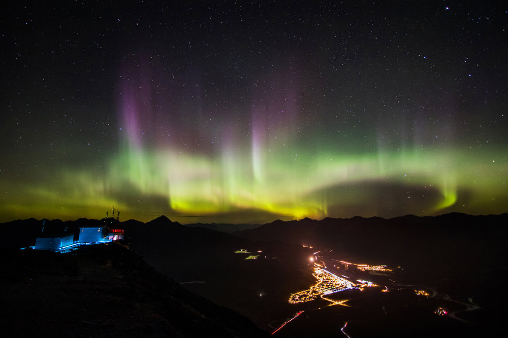 Auroras and Jasper from the top of The Jasper Skytram