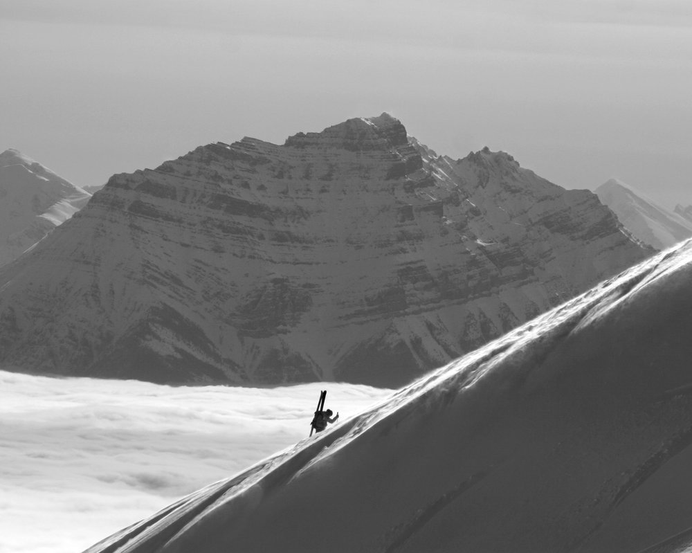 Hiking the peak at Marmot Basin