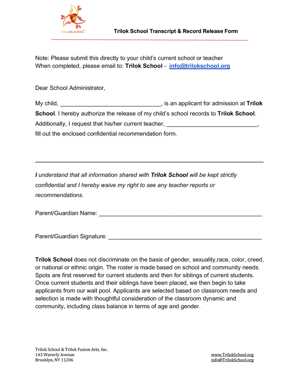 Trilok Transcript & Record Release Form Page 1