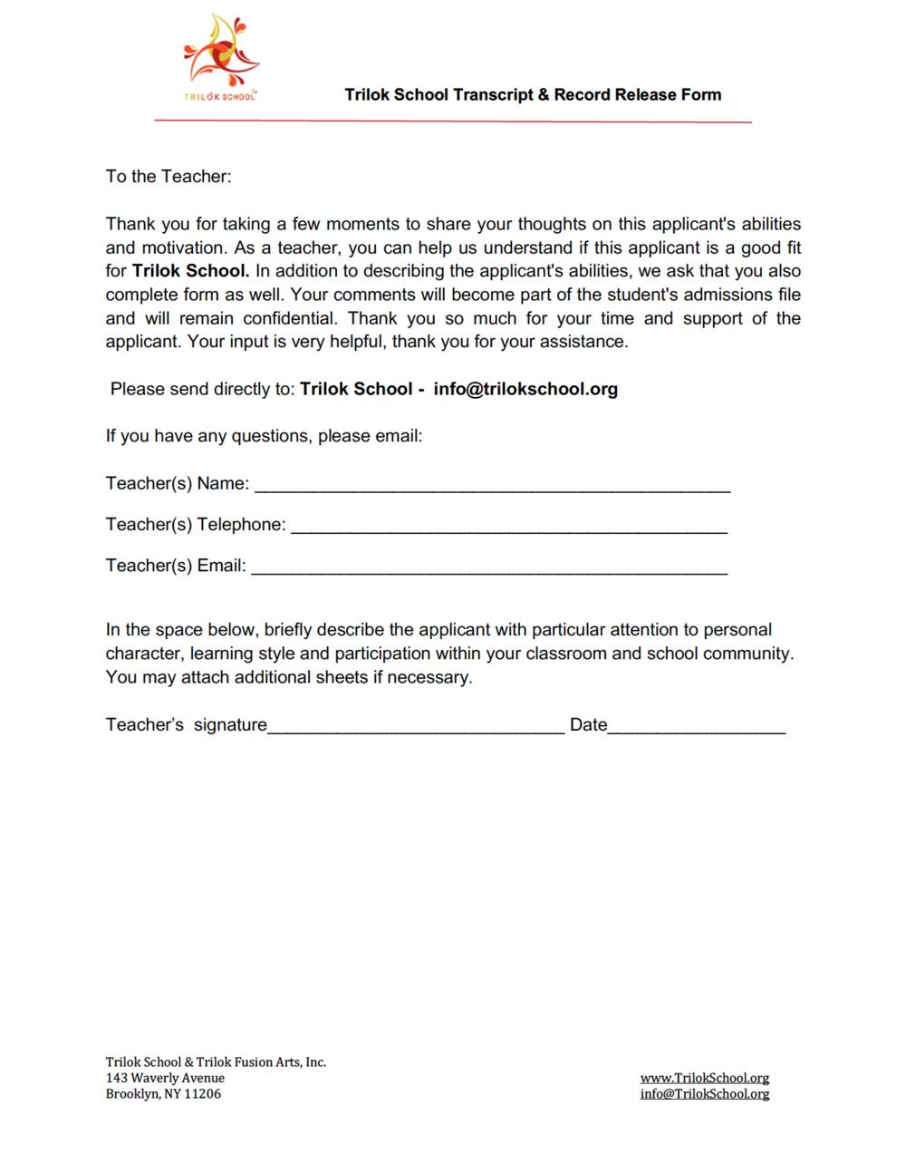 Trilok Transcript & Record Release Form Page 2