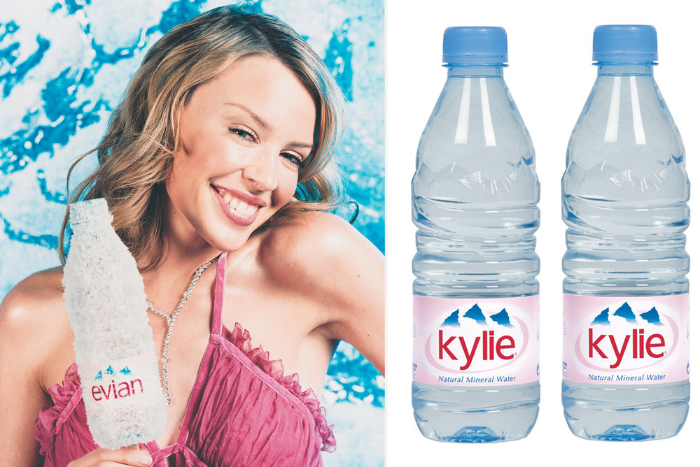EVIAN  / Working alongside Kylie Minogue. Persuading Evian to change their logo for the first time in the brand's history. Devising and producing a mammoth sampling project alongside her UK tour, gifting the limited edition bottles to fans.