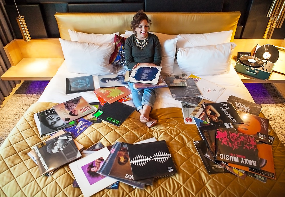 W HOTELS /  Creating the world's first hotel vinyl room service experience. A carefully curated list of albums by various DJ's and celebs available via room service together with a vintage record player.