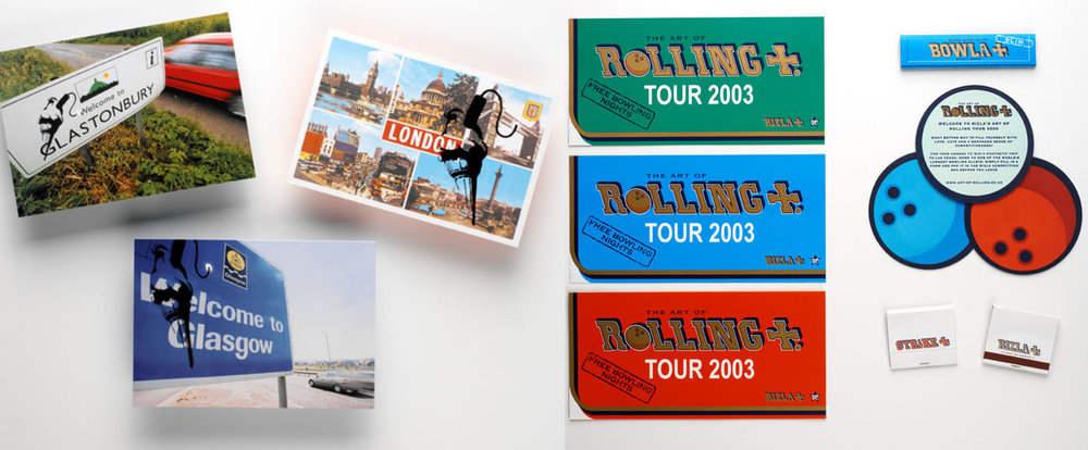 RIZLA /  Five years of Summer festivals including Glastonbury cafes and chillout tents on the road with Massive Attack and the Rizla Bowling tour. Commissioned a young Banksy to create stencils for the brand and hijacked a few signs and locations whilst touring.