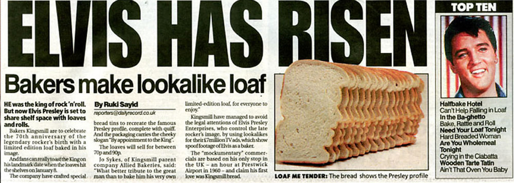 KINGSMILL /  The world's first ever 'Elvis' shaped loaf.
