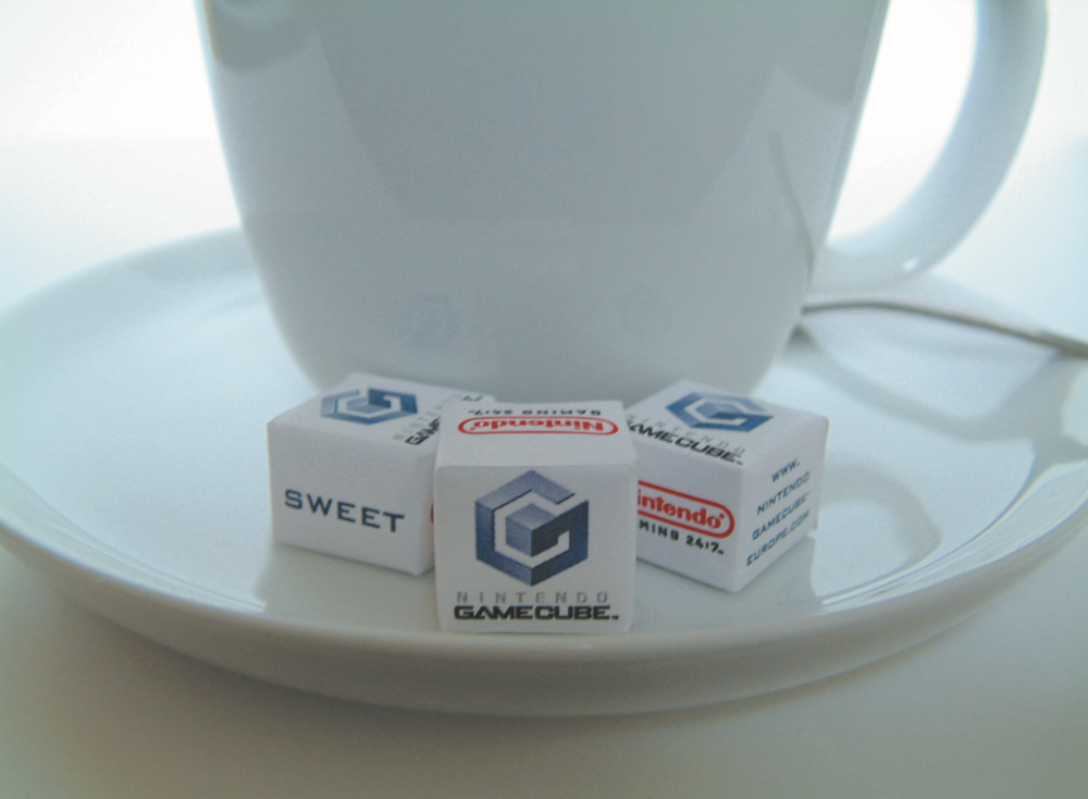 NINTENDO /  The placement of branded sugar cubes for the launch of the Gamecube in numerous trendy coffee shops and cafes.
