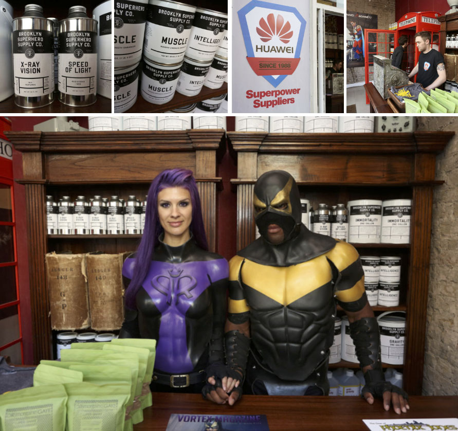 HUAWEI /  Superheroes campaign launch. Superpowers supply shop in Shoreditch, London. Talks and an exhibition of superhero portraits. Real life superhero Phoenix Jones was flown in from America picking up huge media coverage and TV interviews including Newsnight. Launch included The incredible Brooklyn Superhero Supply Company.