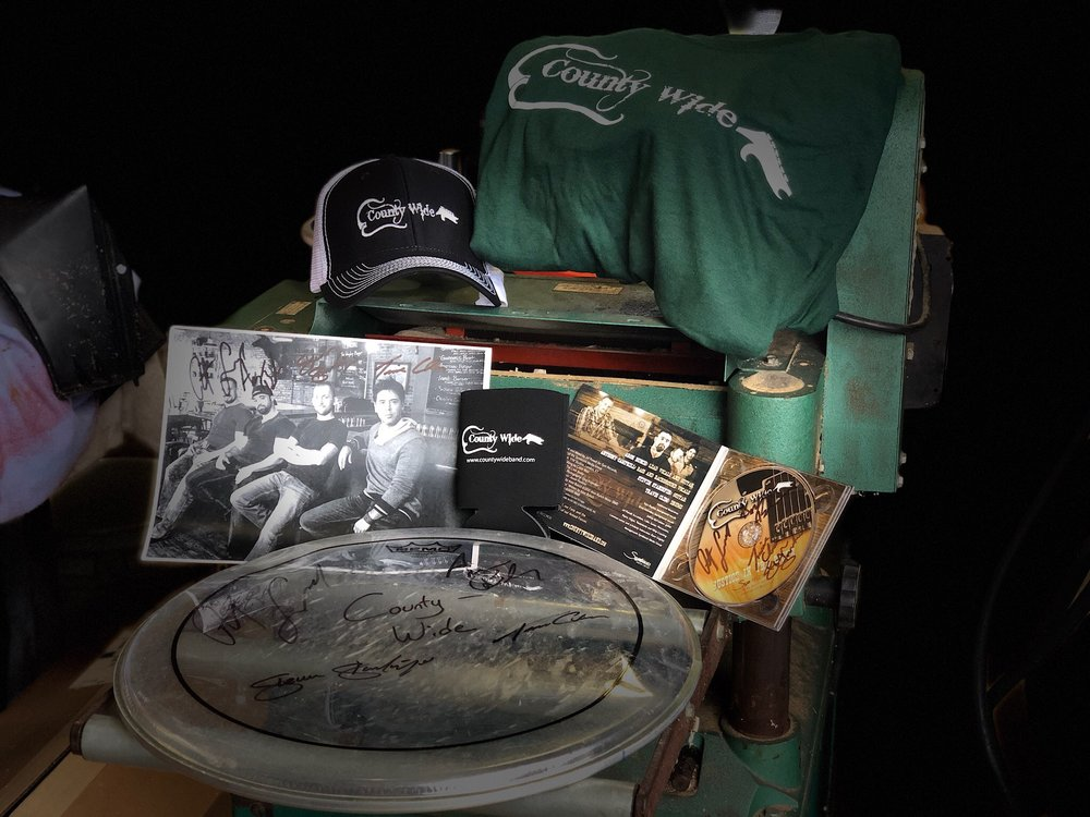 County Wide Gift Set $40Signed CD, Signed Picture, T-Shirt, Koozie, Signed Drum Head, County Wide Hat -
