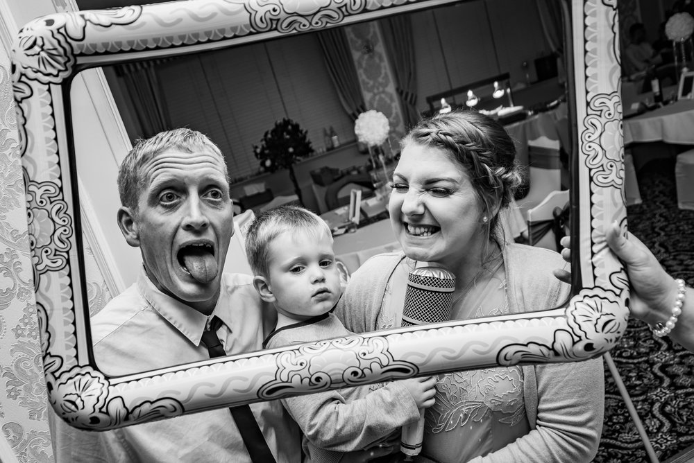 Funny props at the wedding in Birmingham west midlands. Funny black and white photography
