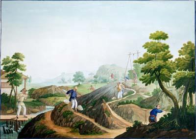 Mining the Petuntse 1825 Guangzhou China Gouach on paper