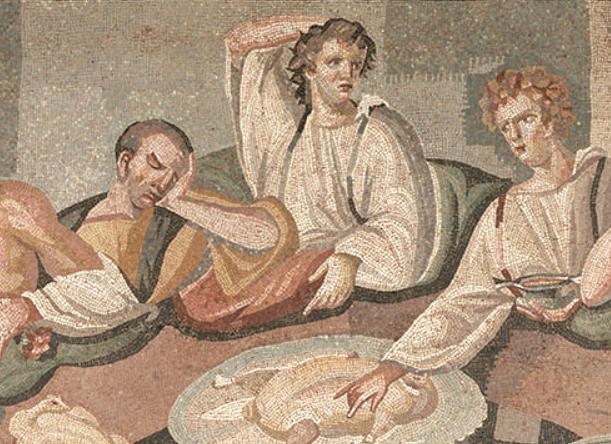 Ρωμαϊκό μωσαϊκό με συμπόσιο, 3ος αι. μ.Χ.