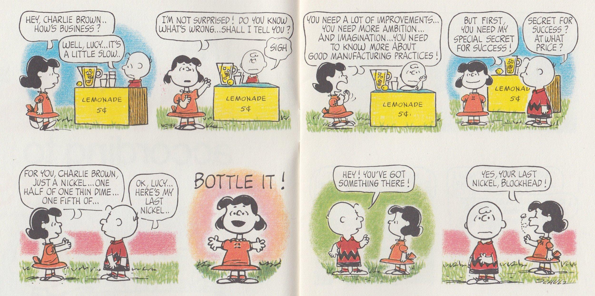 Η Lucy & ο Charlie Brown συζητούν για λεμονάδα