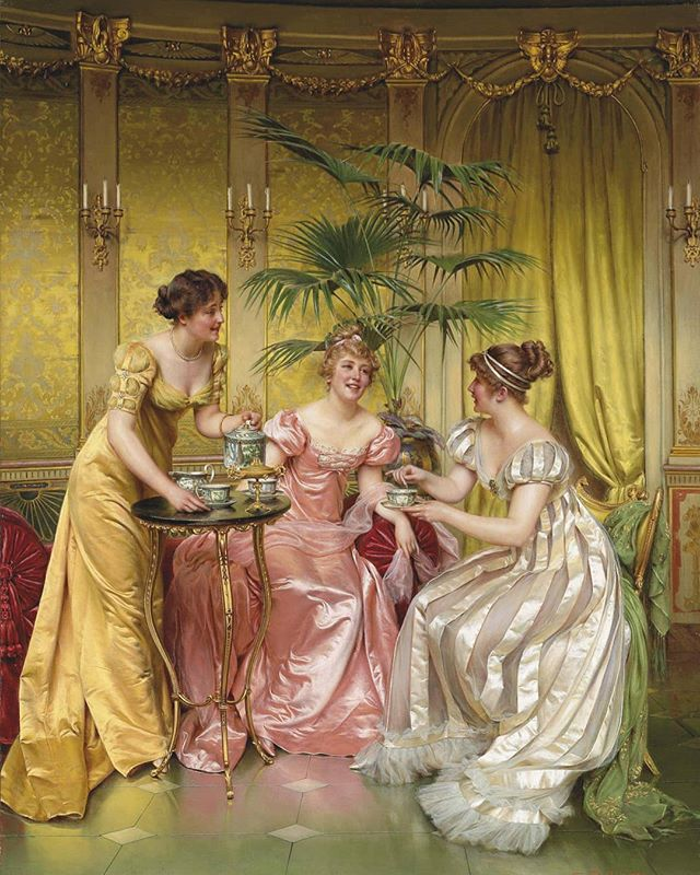 🎨☕Currently obsessed with paintings showing afternoon tea. Do you want to see some more? 🔹Charles Joseph Frédéric Soulacroix (1825 - 1879), private collection🔹 #art #afternoontea