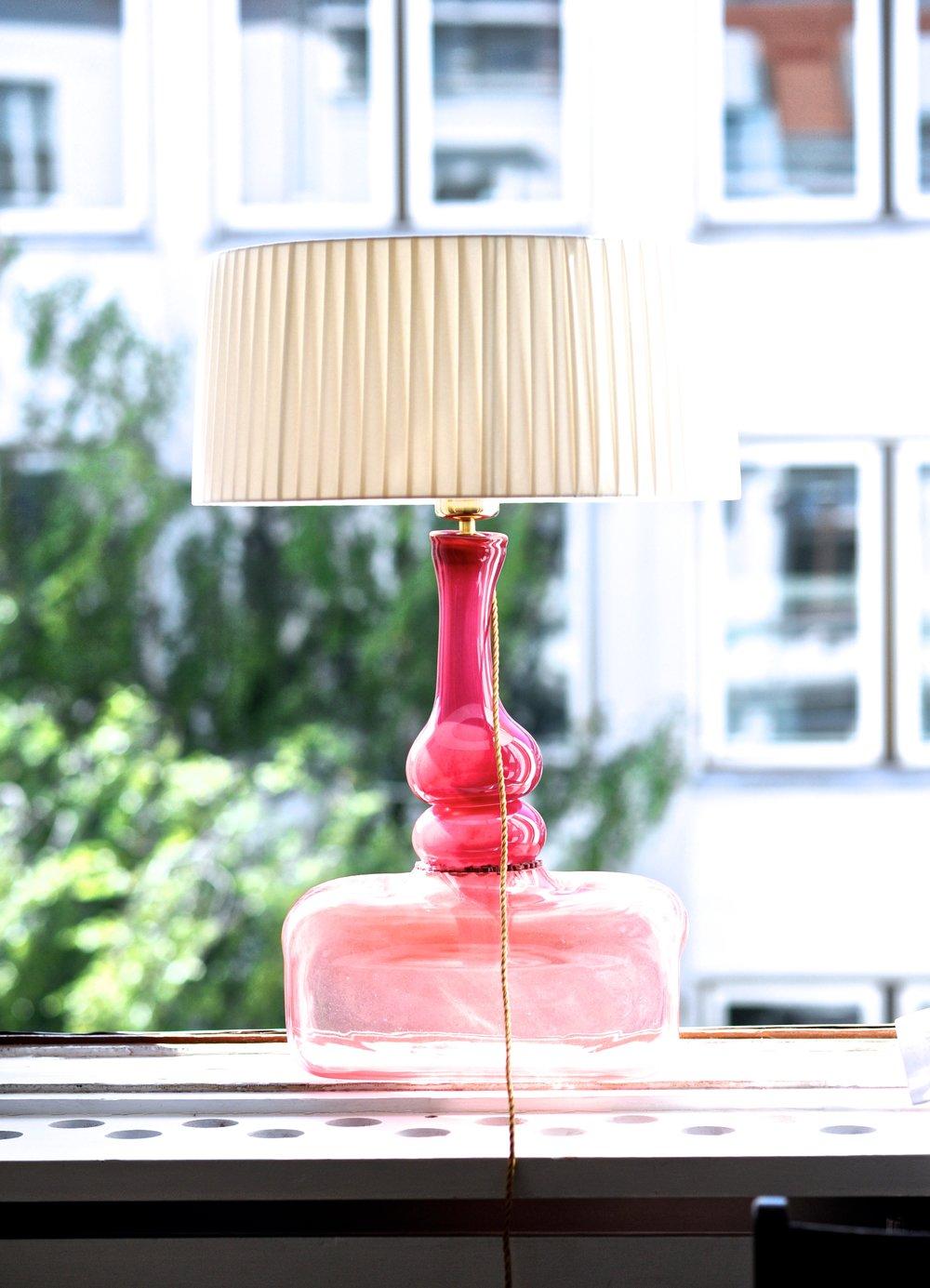 #13  2017  Glass opaque, glass, light bulb, electrified 60 cm (+ shade 85 cm)