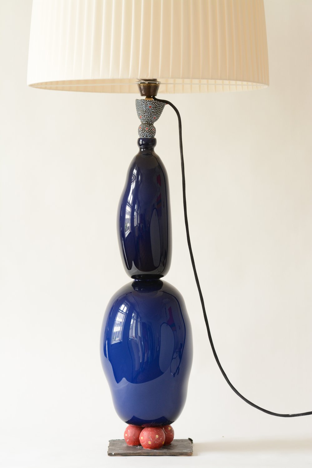 #9  2017  Murano glass opque, painted bronze, light bulb, electrified 89 cm (+ shade 123 cm) Private collection