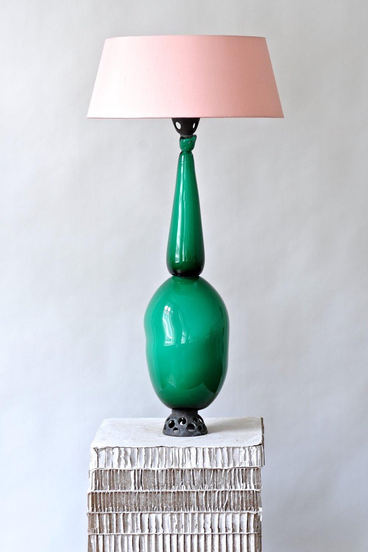 #4  2017  Murano glass, opaque, bronze, light, bulb, electrified Bronze  77 cm (+ shade 95 cm) Pirvate collection