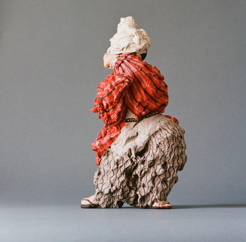 Japanese Farmer  2008 Clay, acryl painted 25 cm