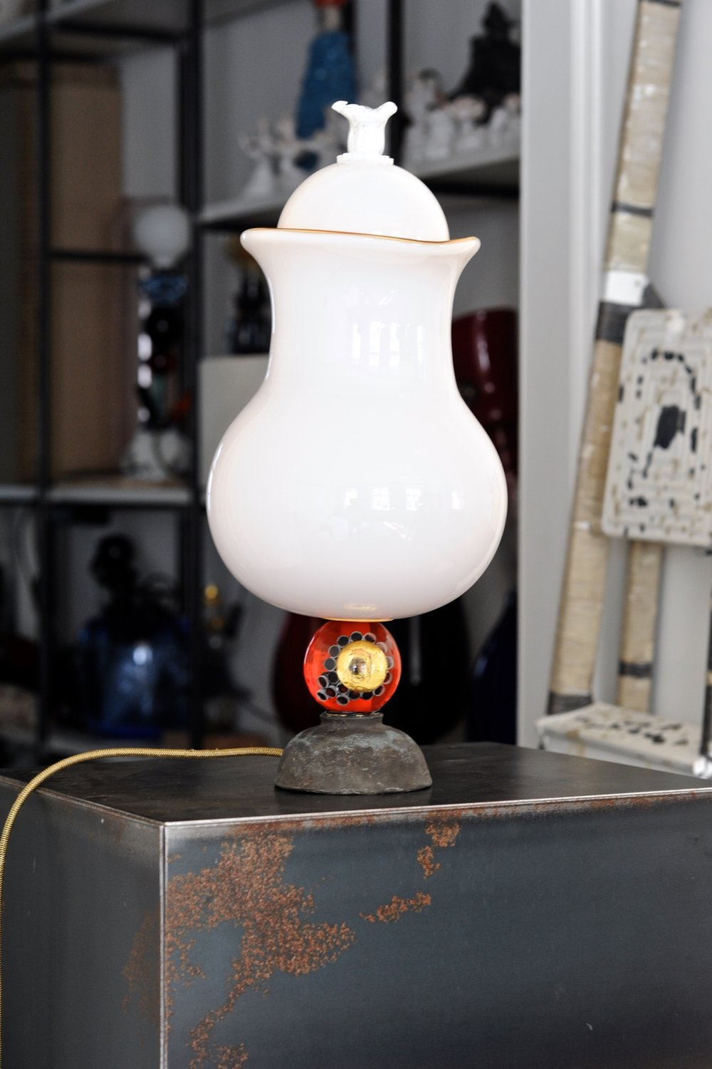 #38  2017   Murano glass opaque + transparent, painted bronze, light bulb, electrified 39 cm Private collection