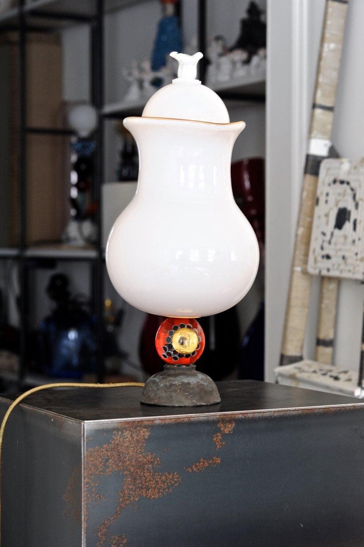 #38  2017   Murano glass opaque + transparent, painted bronze, light bulb, electrified 39 cm