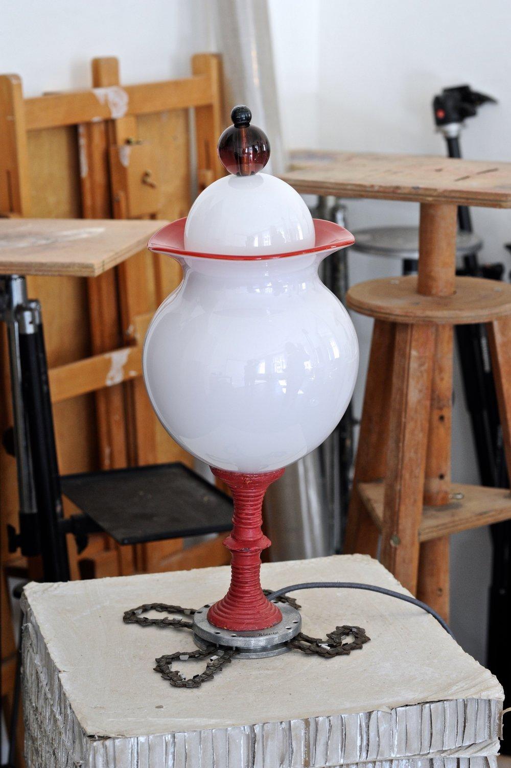 #39  2017 Murano glass opaque, bronze, scrap iron, light bulb, electrified 42 cm