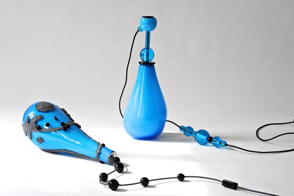 #52 & #56  Opaque, epoxy resin, light bulb, glass balls, electrified Opaque + transparent, light bulb, electrified 57 cm, 60 cm