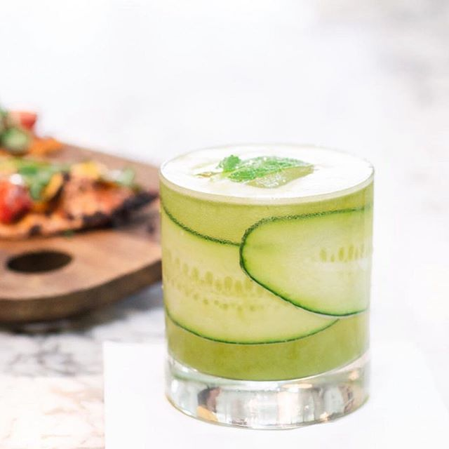 Perfect Friday Green Juice with gin, spinach, pineapple, cucumber, celery, kale and aquavit. She ain't your typical green juice 😉  Available at @gratitudekitchenandbar Beverly Hills & Newport Beach.