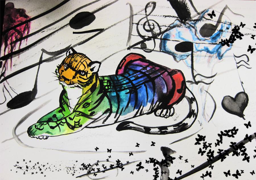 Rainbow Tiger, Watercolor, 2007