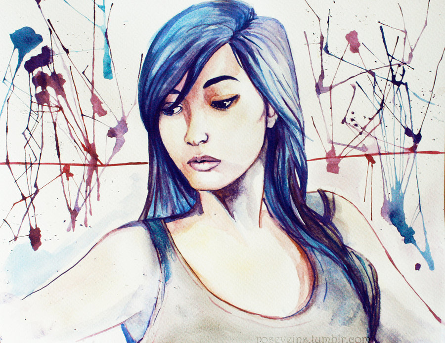 First watercolor self portrait, watercolor, 2011
