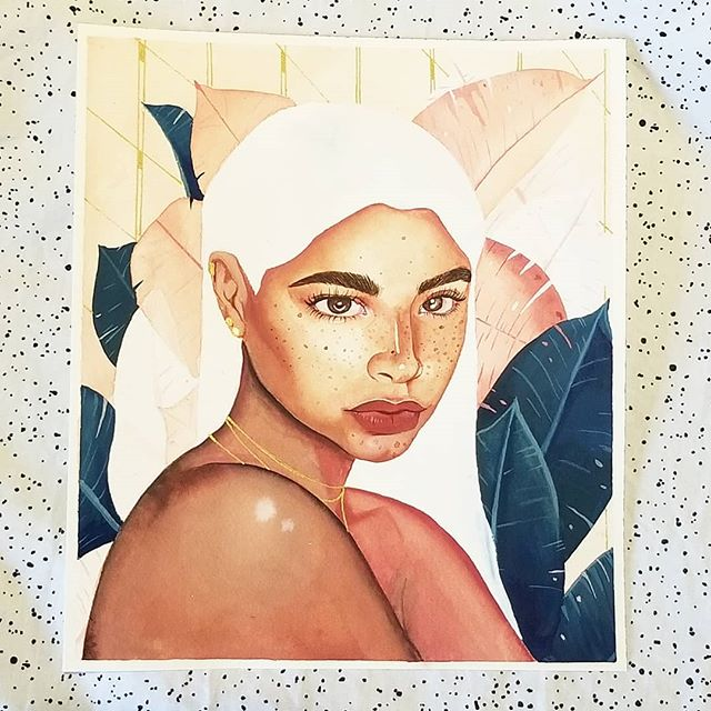 """Dreaming of tropical weather while it rains in California. 🌧 . . . Getting the hang of using gouache and I am really enjoying the process. I have been trying to paint people who have darker skin tones because I like the challenge of mixing up the paint and I feel like it is so much harder to correctly layer paint for those with darker skin. Letting a lot of the white of the paper come through has always come off as appearing """"ashy"""" to me so I appreciate how with gouache the undertone can come through much stronger. . . I'm working on a new blog post for tomorrow about my drawing supplies. Let me know what else you guys would like me to write about below! 👇"""