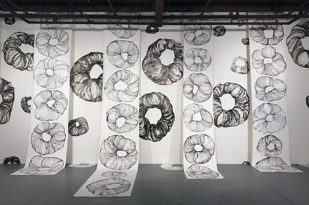 Maggie Nowinski,  What I Don't Remember/in Memoriam , 2018. Installation of wHoles: individual drawings, inks and acrylics on primed canvas scrolls, yupo, floor.
