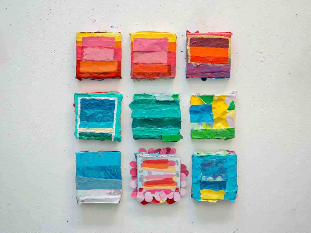 Noé Jimenez,  Untitled Grid  (2018). Paper and Acrylic on Foam.