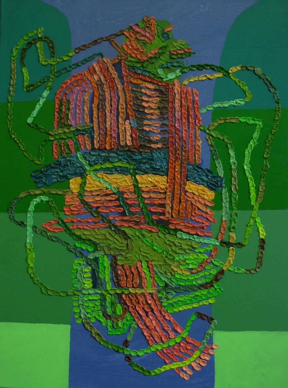 Noé Jimenez,  Gum, Grass, Debris, Water  (2012). Oil and Acrylic on Canvas.