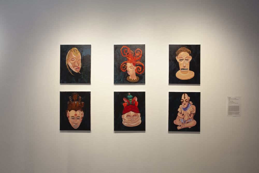 Paintings by Tajh Rust in the exhibition,  In Plain Sight/Site.  Photographer: Jessica Smolinksi.