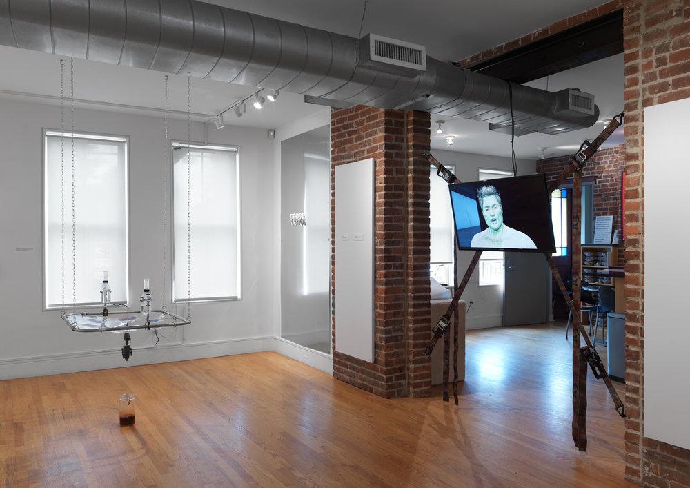 False Flag  installation shot. Artists left to right: Son Kit, Juliana Huxtable, Theodore Darst. Credit: Object Studies.