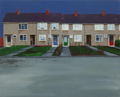 George Shaw,  Scenes from The Passion: No. 57 , 1996, Humbrol enamel on board, Royal College of Art, London, courtesy of the artist and the Anthony Wilkinson Gallery, London, © George Shaw 2018