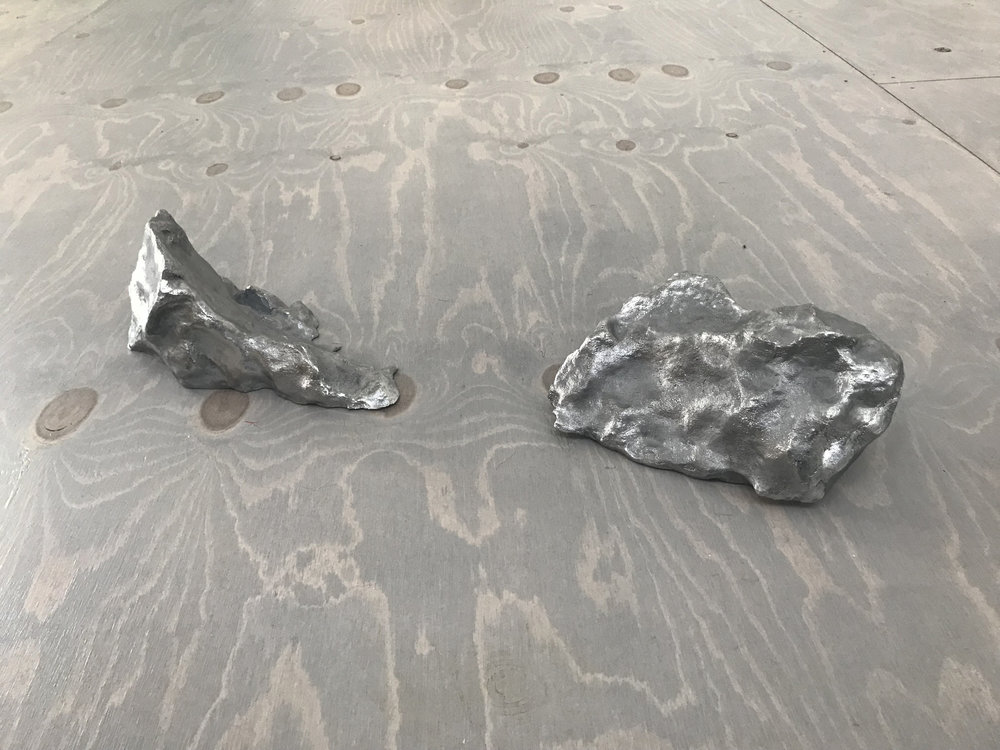 Joseph Smolinski,  Lost Monuments,  2018. 3D scanned melted snow piles cast in aluminum.