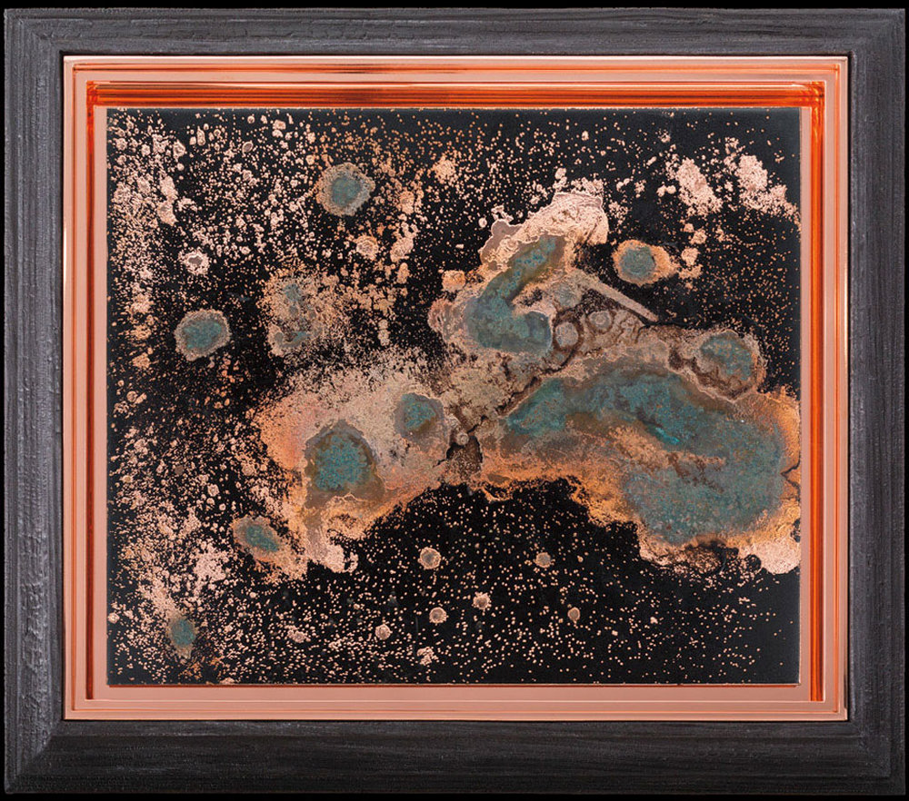 Matthew Barney,  Redoubt: Base Plate Conductor , 2018, One electroplated copper plate with vinegar patina and seven engravings, on asphaltum ground in copper and charred pine frames, © Matthew Barney, Courtesy Gladstone Gallery-New York/Brussels. [ source ]