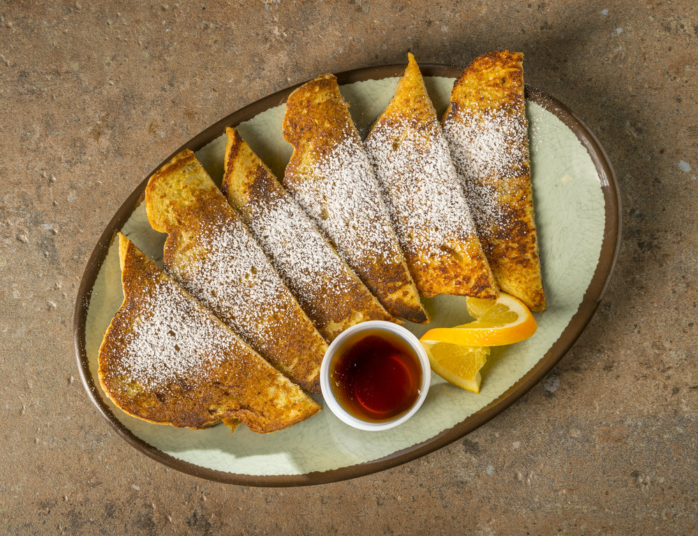 Cinnamon French Toast - FTH Sourdough French toast served with syrup and powdered sugar.$7.39