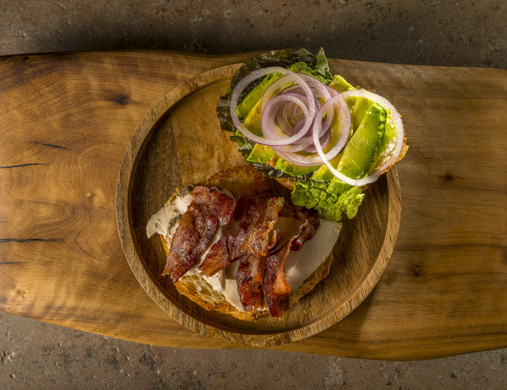 T.A.B. - Oven-roasted herbed turkey breast, avocado, hardwood smoked bacon, lettuce, onion, mayo, and house-made Sierra Nevada pale ale mustard on a FTH croissant.$10.79