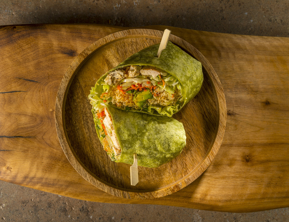 Thai Fusion Wrap - Chicken, cabbage, carrot, avocado, cilantro and crunchy rice noodles with house-made spicy sesame dressing.$10.29
