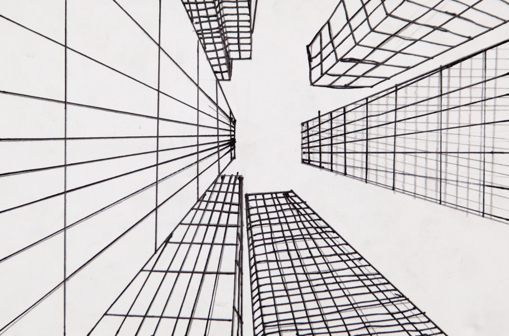 Grade 6~ City Scape, (Worm's Eye View) Perspective Drawing  Pen & Ink