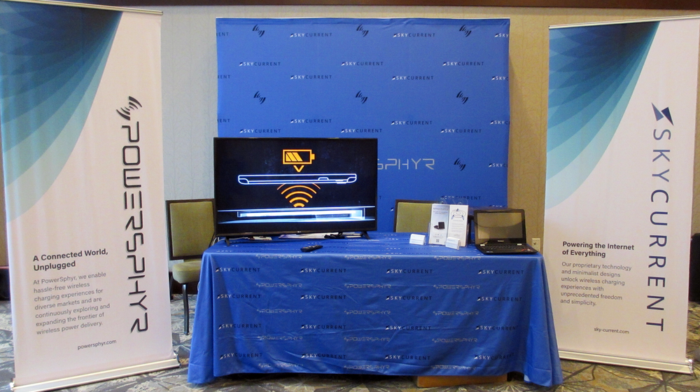 PowerSphyr Tradeshow Banners   I designed the banners, tablecloth, backdrop banner, and print collateral on table for the Wireless Power Summit 2018 in Denver, CO for a technology startup.