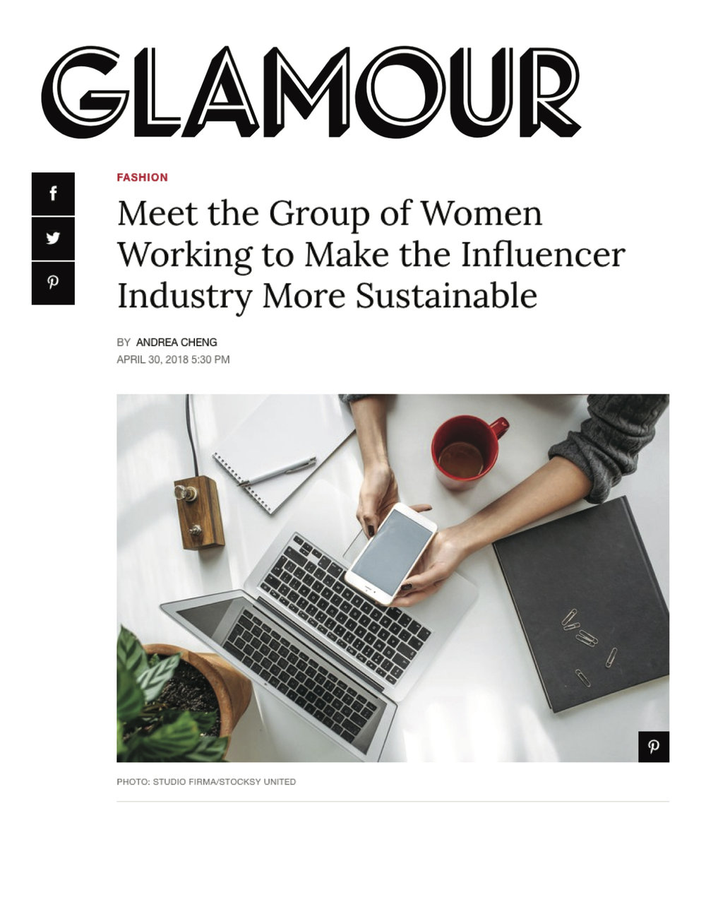 Glamour magazine feature on the Ethical Writers & Creatives