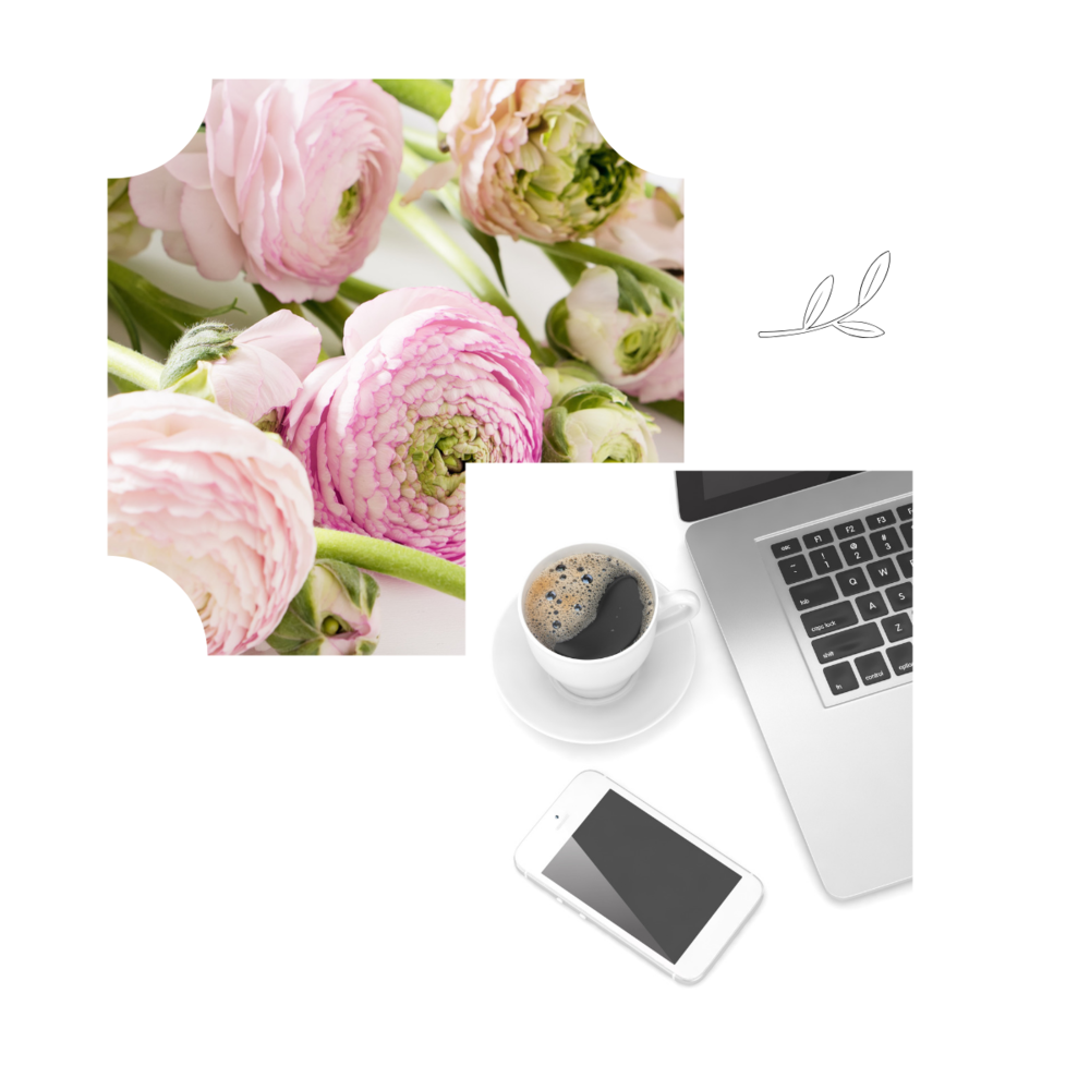 Flowers, laptop and coffee.