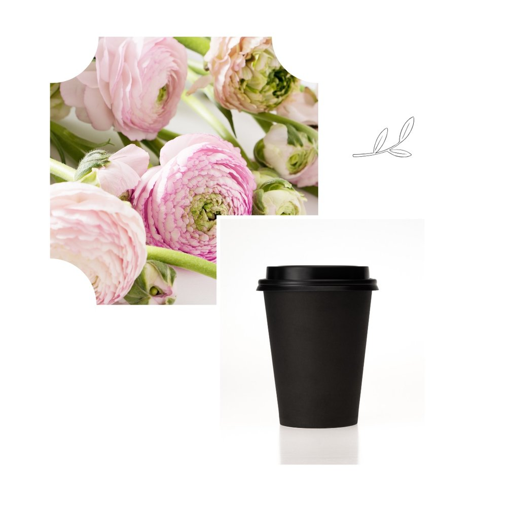 Flowers and coffee cup