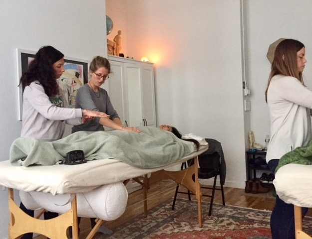 Reiki 2 workshop - During my master training, at the NY Reiki Institute with Nana Deleplanque. Guiding students with the hand positioning.