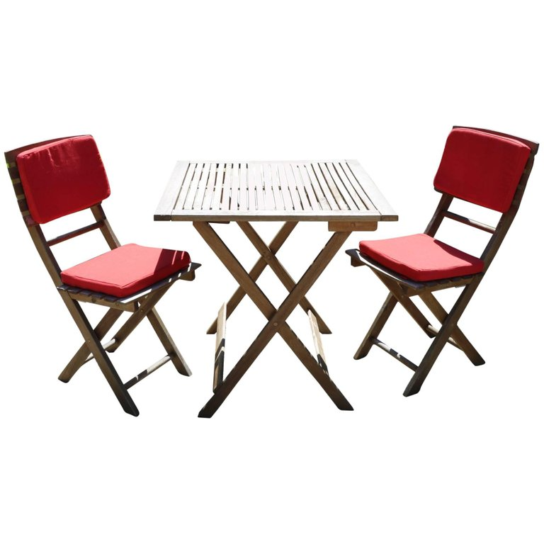 French Teak Bistro Indoor/Outdoor Folding Table and Chairs