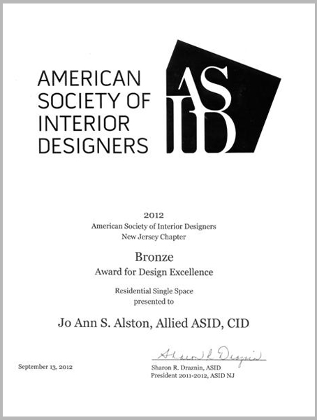 American Society of Interior Designers Award for Design